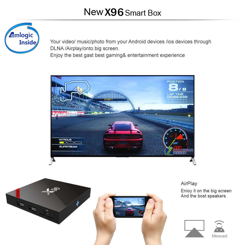 X96 TV Box S905W Quad Core Android 7.1.2 OS 1G 8G Support Youtube Netflix Music Movies IPTV LIVE Channel Games Set Top Box
