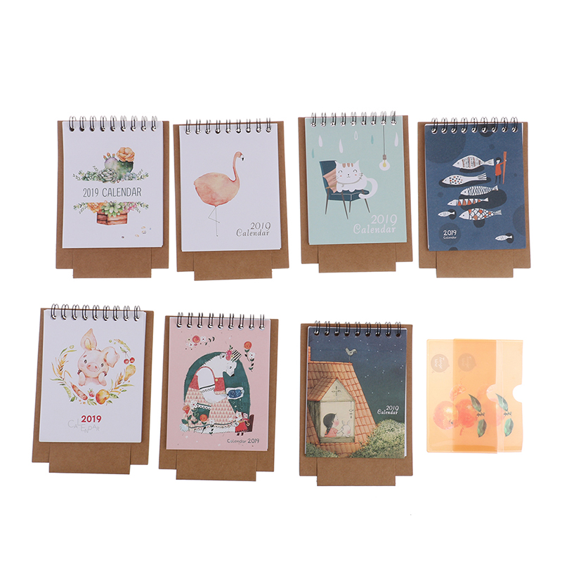 Kawaii Cartoon Animal Desk Standing Paper Calendar Multifunction Schedule Planner Notebook Calendar Crease-Resistance Calendar