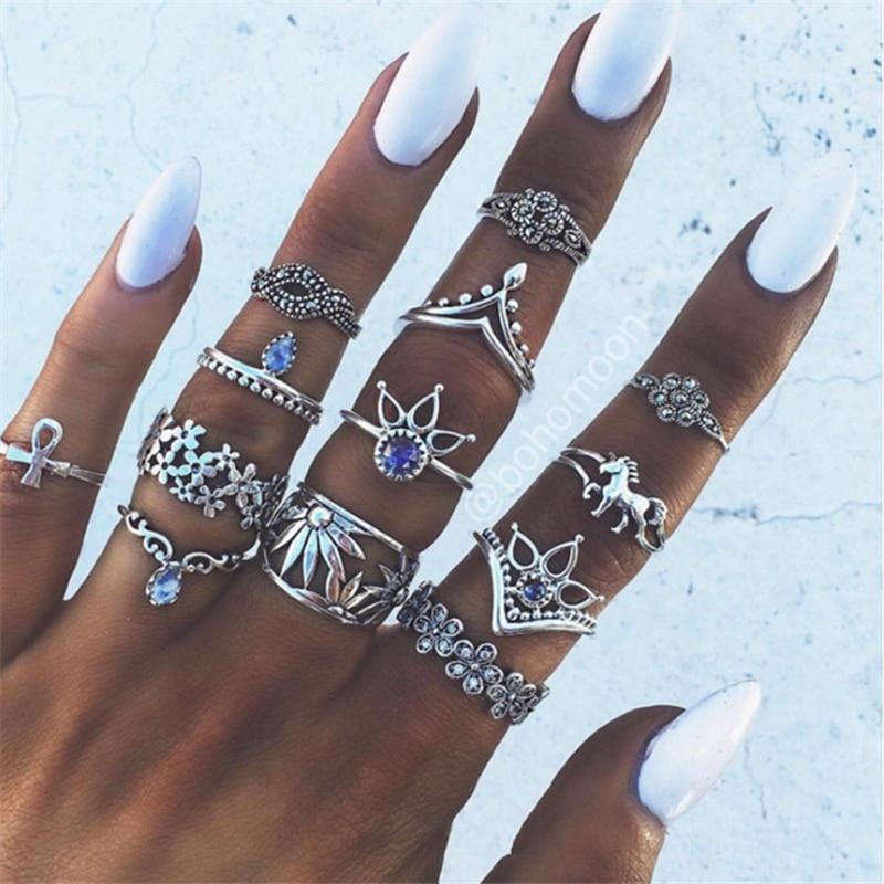 RAVIMOUR 7 Estilo Vintage nudillo anillos para las mujeres Boho flor geométrica anillo de Cristal de Bohemia Set Midi dedo joyería Bague Femme