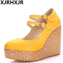 XJRHXJR Brand Plus Size 31-43 Women Pumps Fashion Sexy Round Toe Buckle High Heel Woman Shoes Green Red Yellow Orange Beige