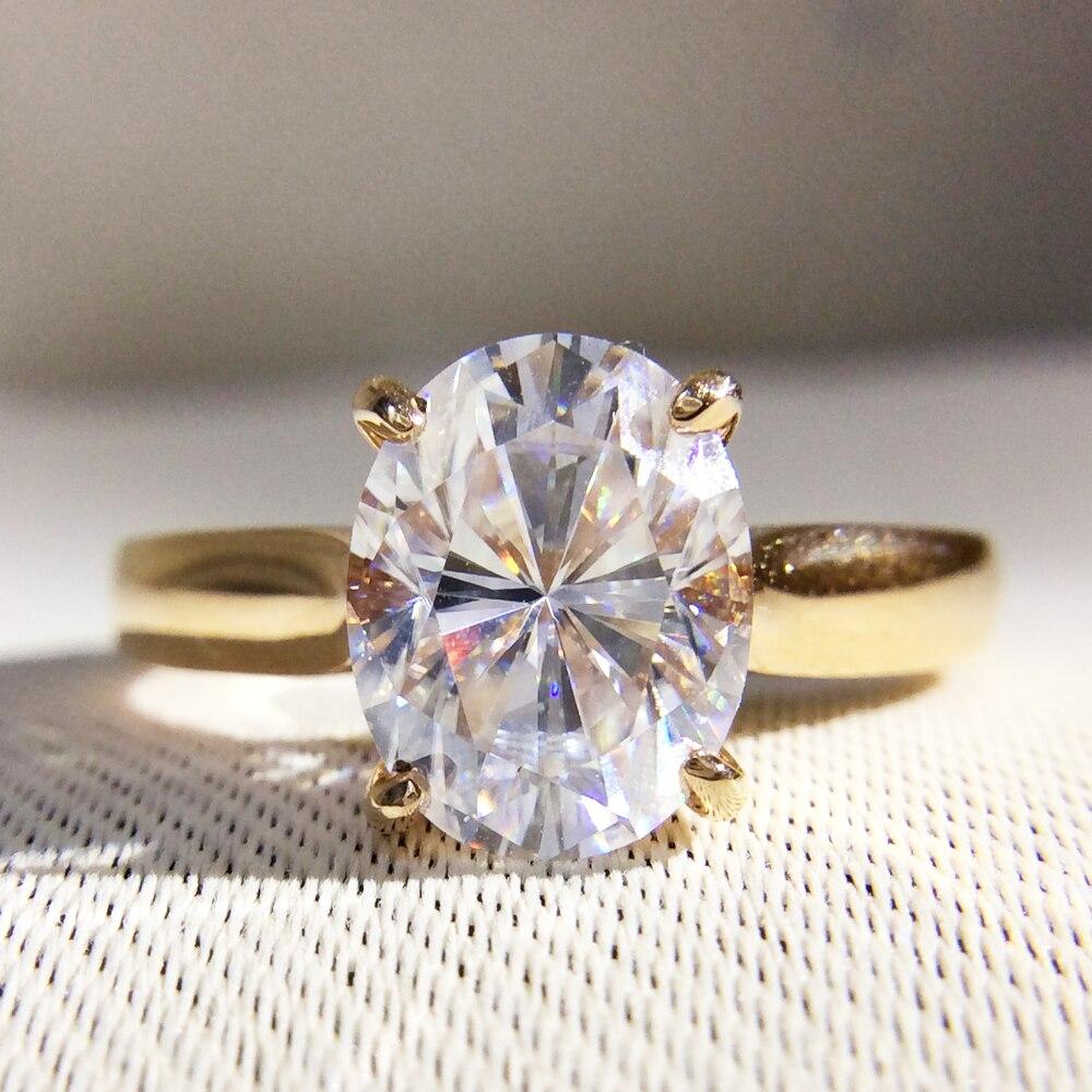 Великолепная 1 карат КТ DF Цвет Лаборатория Grown Овальный муассанит кольцо с бриллиантом Solitaire Обручение обручальное кольцо 14 К 585 желтый золот