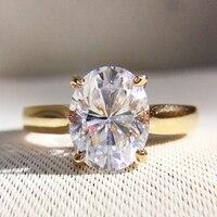 Великолепная 1 Carat ct DF Цвет выращенные лабораторно Овальный муассанит кольцо с бриллиантом Помолвочное с солитёром обручальное кольцо 14 к 585