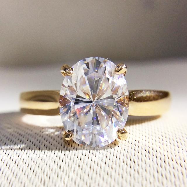 1e56776d3cda Hermoso 1 quilates ct DF Color laboratorio Grown Oval Moissanite diamante  anillo solitario compromiso anillo de