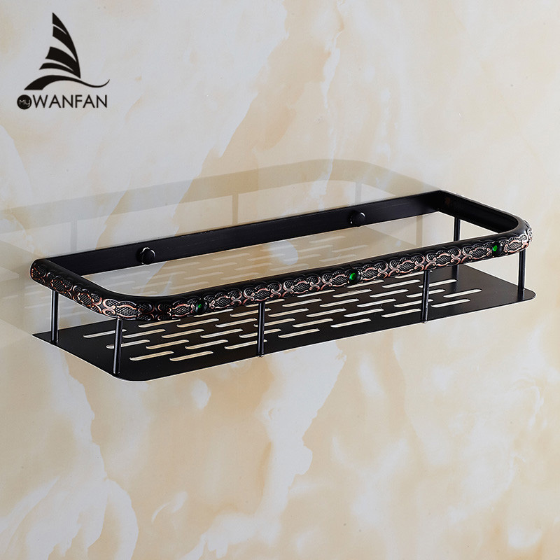 Bathroom Shelves Wall Brass Kitchen Rectangle Shelf Shower Caddy Storage Single Tier Shampoo Basket Holder Accessories FE-8623 single tier wall mounted black finish carving brass bathroom shower shampoo shelf basket holder i633