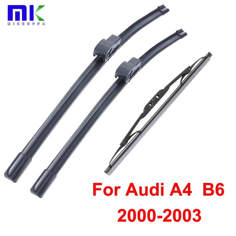 Чистачки за чистачките за Audi A4 B6 2000 2001 2002 2003 2003 Предни и задни висококачествени чистачки на предно стъкло от естествен каучук Автомобилни стайлинг на автомобили