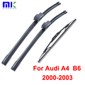 Wiper Blades For Audi A4 B6 2000 2001 2002 2003 Front and Rear High quality Natural Rubber Windscreen Wipers Auto Car Styling wiper blade windscreen wiper auto wipers -