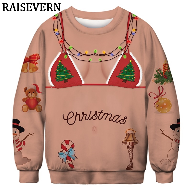 Men Women 2019 Ugly Christmas Sweater Fake Bikini Muscle