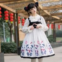 Harajuku Style Kawaii Panda Printed High Waist Black White Lolita JSK Dress Female Sleeveless Bandage Bows Doll Suspender Dress