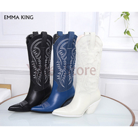 Fashion Slip on Pointed Toe Knee High Boots Women Chunky Heel Vintage Western Embroider Cowboy Boots Navy Trendy Botas Mujer2019
