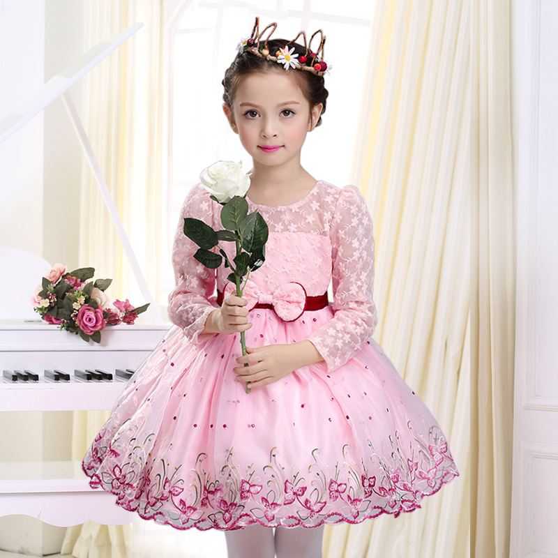 2018 New Autumn Wedding Flower Girls Party Princess Dresses Kids Baby Long Sleeves Pink Embroidery Lace Bow Birthday Dress girls party dresses 2018 new kids