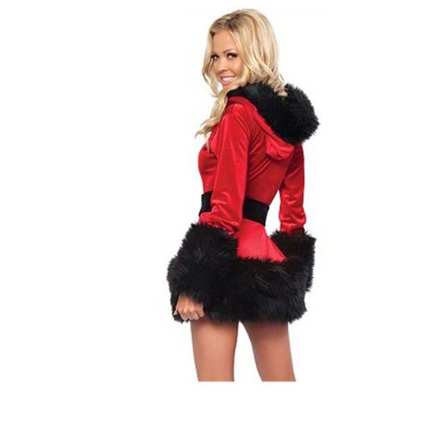 1ec0fcb1ef7 Red Black Sexy Velvet Dress santa costumes Adult Mrs Claus Santa Outfit for Women  hooded belt