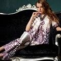 XIFENNI Marca Mujeres Satén de Seda Pijama de Moda Impreso Pijamas Conjuntos de Pijamas de Seda de Imitación Sexy Con Cuello En V Pijama Ropa de Dormir 33660