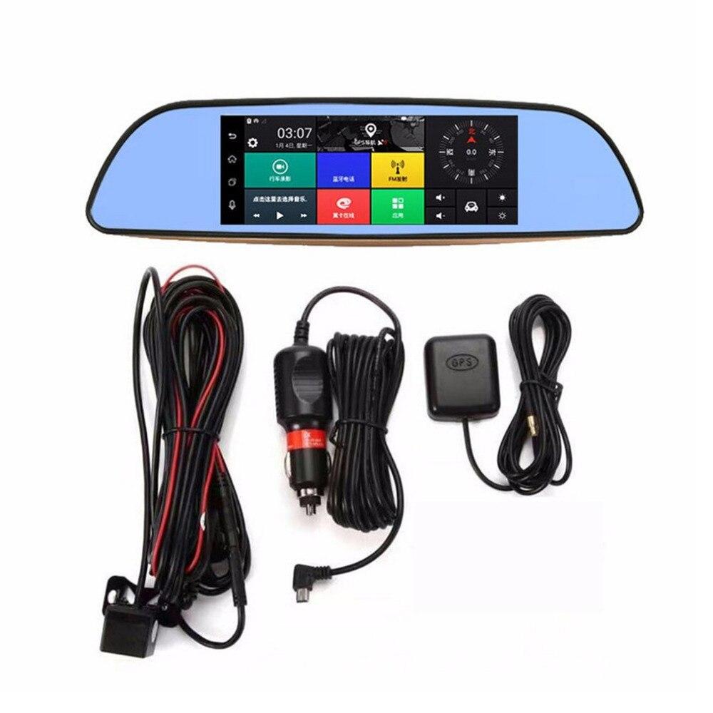 7 Polegada HD Retrovisor Do Carro DVR Full HD 1080 P Inteligente espelho Câmera Traço de Lente Dupla 3G WI-FI GPS Para Android 5.0