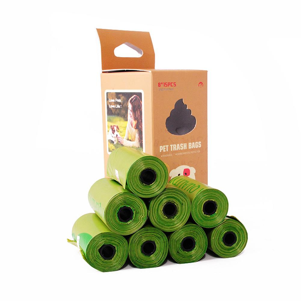 Compostable Dog Poop Bags Cornstarch Earth Friendly 120 Counts 17 Micron ASTM D6400 Biodegradable Cat Waste Bags Garbage Bag