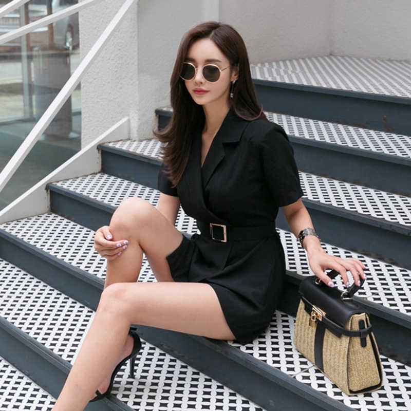 Yeni varış bayanlar moda mizaç rahat tulum zarif iş tarzı yüksek kaliteli vintage sevimli siyah tulum tulum