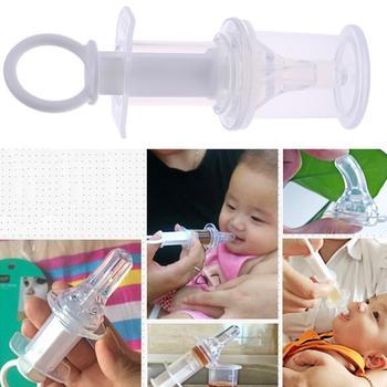 Chupete de jeringuilla transparente para bebé, dispensador de gotero para medicina, alimentador de agua para leche, cadena de dentición segura para bebé