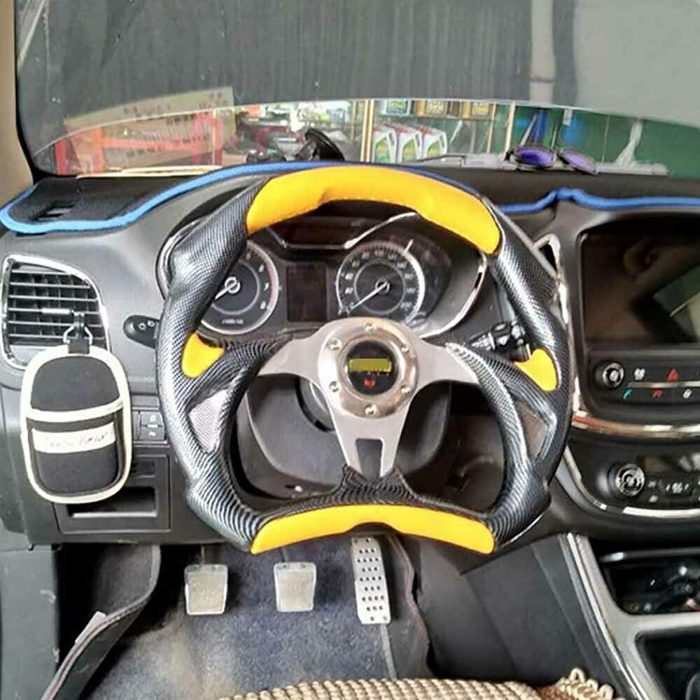 14 Black Flat Chrome Spoke Yellow Leather Carbon Fiber Racing Steering Wheel