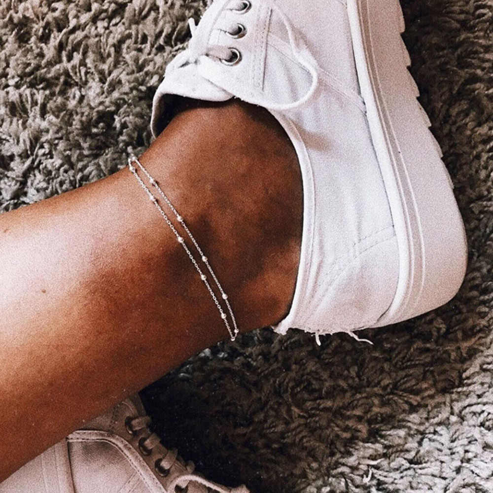 EN Summer Vintage Chain Anklet Women's Simple Beads Chain Gold Silver Bohemian Jewelry Legs Anklet Party Jewelry Gifts Wholesale