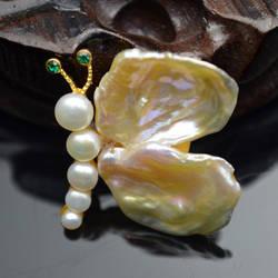 Amxiu на заказ натуральный жемчуг в форме бабочки брошь аксессуары двойного назначения кулон Настоящее позолоченные украшения булавки для
