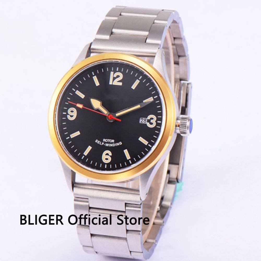 цены Full Stainless Steel 41MM Black Sterile Dial Gold Bezel Luminous Marks 21 Jewels MIYOTA 8215 Automatic Movement Men's Watch BC53