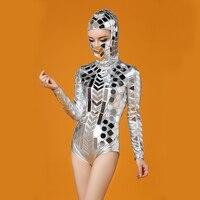 Новинки для женщин Серебряный головной части зеркала боди костюм, одежда для выступлений наряд вечерние певица танцор DJ выступления пикант