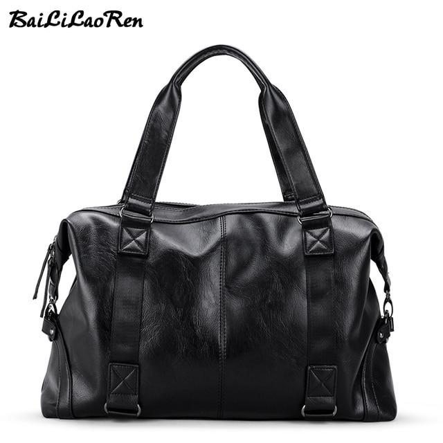 b5cdc4d8b1 BaiLiLaoRen Brand Men s Handbags Travel Duffle Bag PU Leather Large  Capacity Casual Tote Bags Laptop Briefcase Man Messenger Bag