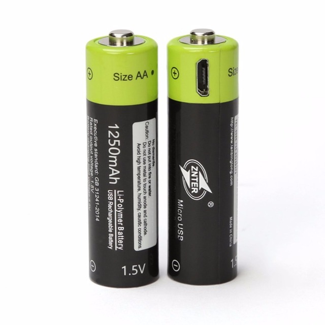 Znter 2pcs universal aa 1 5v 1250mah usb rechargeable - Pile rechargeable 1 5v ...