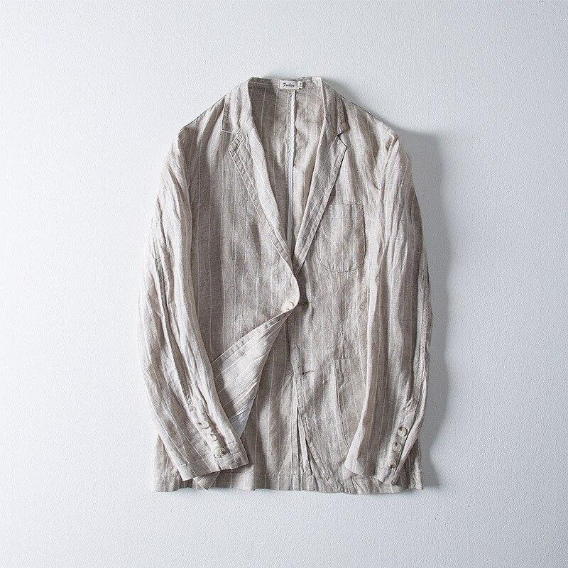 Blazers Fit Chinois khaki 100Pur Couleur Outwears Blue Navy Blazer gray Manches Hommes Lin À Solide Manteaux De Longues green Slim Style Formelle Costumes sdtChQr