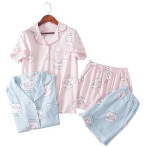 Image 1 - Pembe Bluecute koyun Grafik Tee Ve Şort Pijama Kadınlar turn down Kısa Kollu 2019 Yaz Karikatür Pijama Setleri Gecelikler