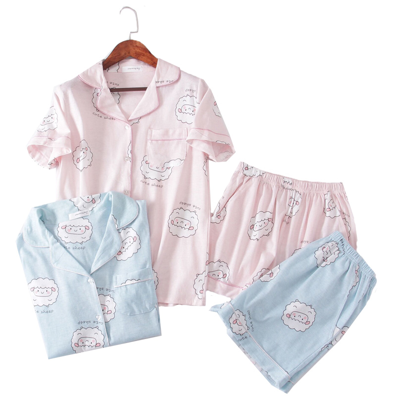 Pink Bluecute Sheep Graphic Tee And Shorts Pajamas For Women Turn Down Short Sleeve 2019 Summer Cartoon Pajama Sets NightWear
