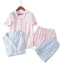 Roze Bluecute schapen Grafische Tee En Shorts Pyjama Voor Vrouwen turn down Korte Mouw 2019 Zomer Cartoon Pyjama Sets Nachtkleding
