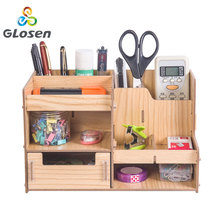Wooden File Rack Multi-function Stationery Storage Box Student DIY Creative Partition Office Supplies D2069 Glosen