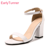 8 Colors Brand New Sexy Blue White Women Nude Sandals Glossy Lady Gladiator Shoes Chunky Heel EH02 Plus Big Size 28 45 52 10
