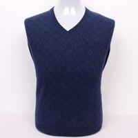 100% козья кашемир Мужская Бутик пуловер свитер argyle плед плюс размер красный серый синий S/105 3xl/130
