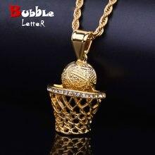 dc6dc6d04b4 Hip Hop basket-ball filets pendentif collier pour hommes femmes alliage  glacé strass sport bijoux gratuit corde chaîne livraison.