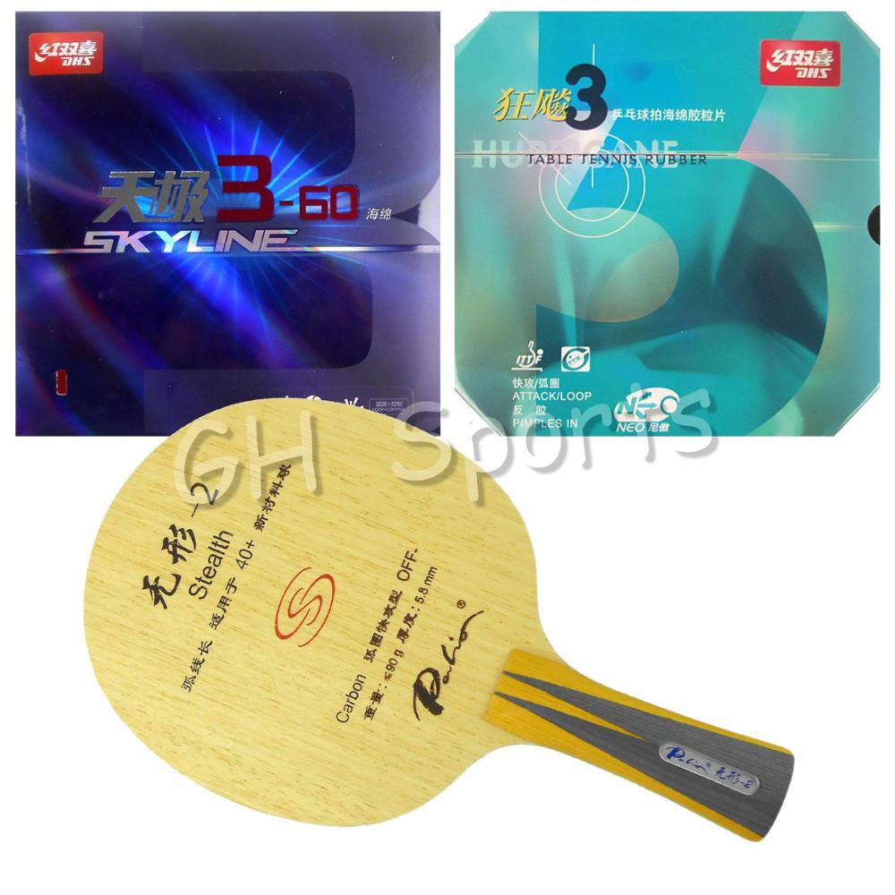 Pro Table Tennis PingPong Combo Racket Palio Stealth-2 with DHS NEO Hurricane 3 and Skyline 3-60 Shakehand Long handle FL dhs hurricane ning off table tennis pingpong blade chinese penhold short handle cs