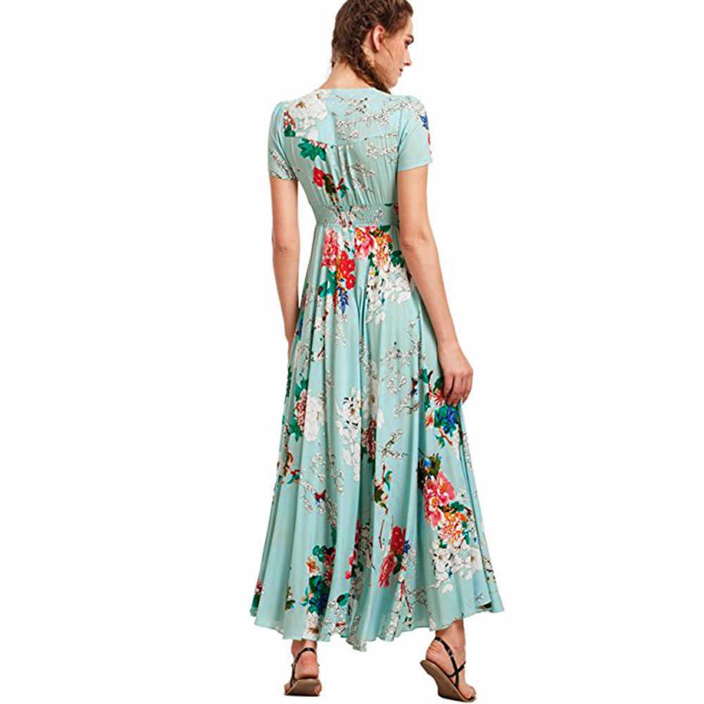 400b97bbe0e2a 2018 Summer Button Up Split Floral Dress Women Cotton Tassels Flowy Party  Maxi Long Dress Robe Soiree Verte