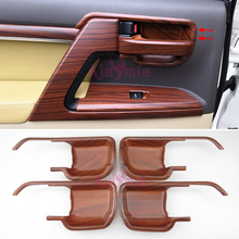 Car Styling Wood Color Door Handle Cover Holder Bowl Insert Trim Panel LC 200 2008-2017 For Toyota Land Cruiser 200 Accessories wooden color door holder handle ac outlet dashboard trim lc 200 car styling 2016 2017 for toyota land cruiser 200 accessories