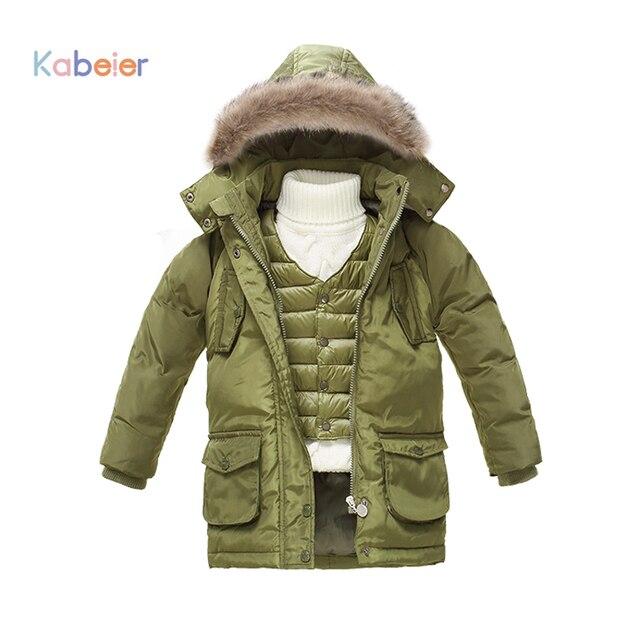 Children Boys Winter Jacket 2016 Kids 2-7 T Parka Jackets White Down Brand Hooded Coats + Vest 2 Pcs Sest Baby Infantil Clothes
