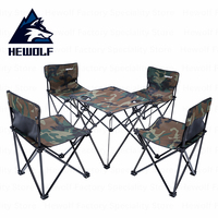 Hewolf 2 Seat 1 Table Folding Tables and Chairs Portable Camouflage Camping Table Chairs Outdoor Fishing Picnic BBQ Equipment