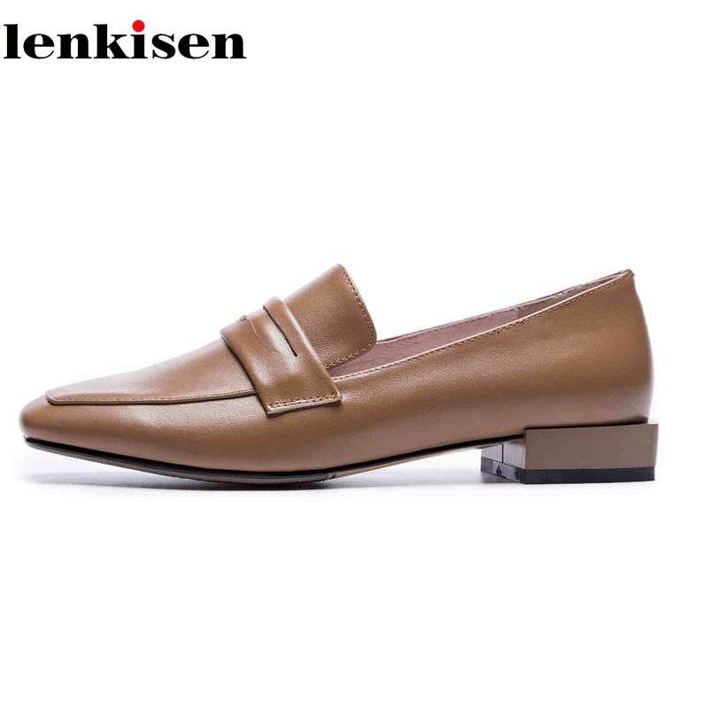 Lenkisen 2018 full grain leather career office lady slip on soft leather fashion fashion simple lazy pregnant women shoes L75