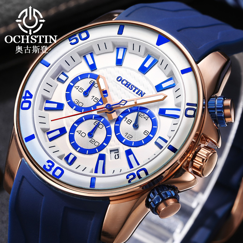 OCHSTIN Men's Watch Top Luxury Brand Man Silicone Analog Chronograph Military Sport Wrist Watches Date Clock Relogio Masculino splendid brand new boys girls students time clock electronic digital lcd wrist sport watch