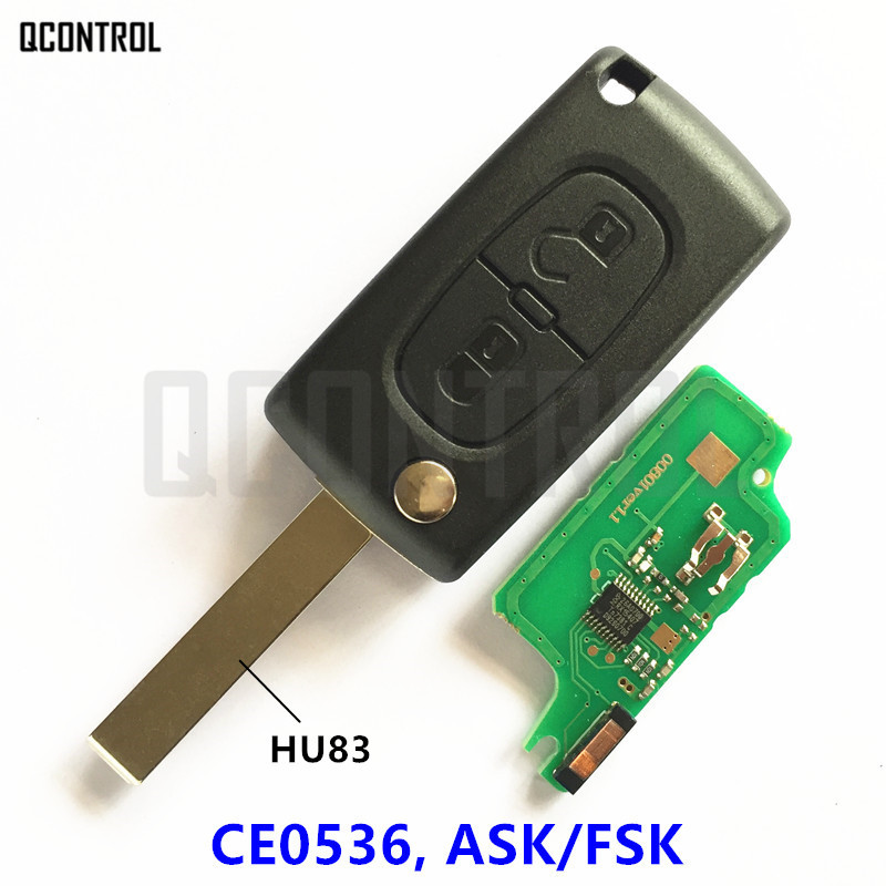 QCONTROL Car Remote Key Suit for PEUGEOT 207 208 307 308 408 Partner (CE0536 ASK/FSK, 2 Buttons HU83)