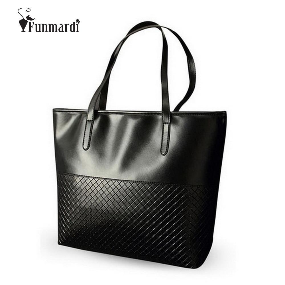 FUNMARDI Fashion Knitting Women Handbags PU Leather Top-Handle Bags High capacity Casual Tote bag New Brand Women Bag WLHB1425