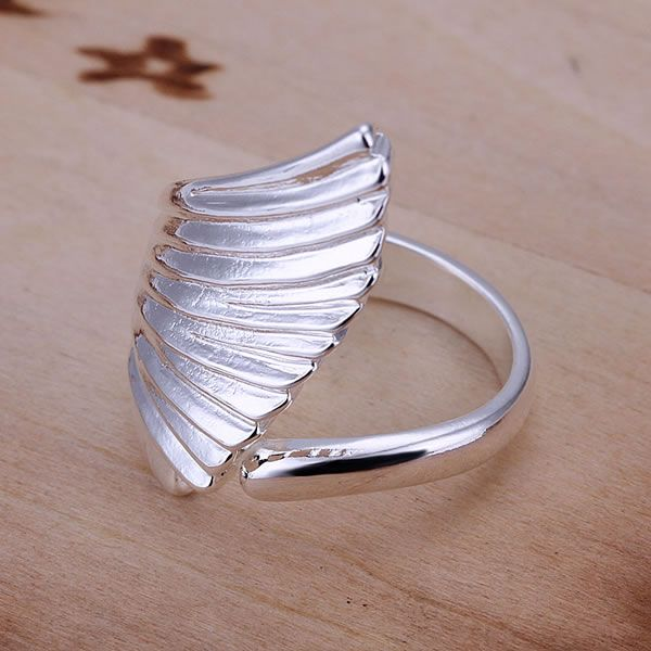 Single Angel Wings Stretch Ring Resizable Women Shining Jewelry Fashion Silver Color Wide Rings For Women Anel Bijoux KN-R122