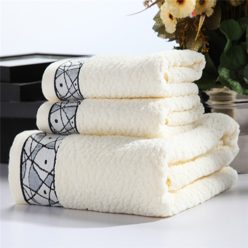 SunnyRain 3 Pieces Silid Color Luxury Cotton Towel Set Face Towel Bath Towels For Adults High