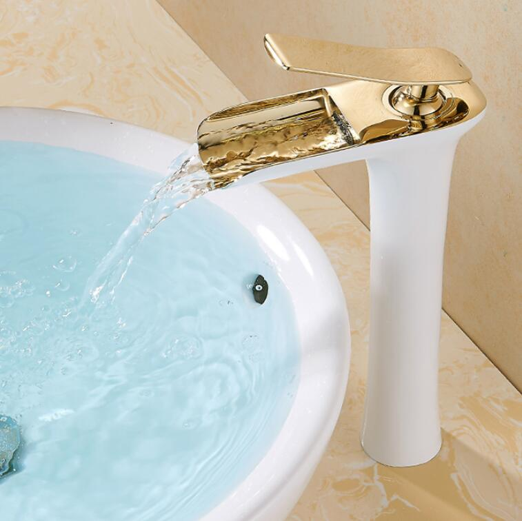 Free shipping Chrome & white Tall Waterfall Faucet Brass Bathroom ...