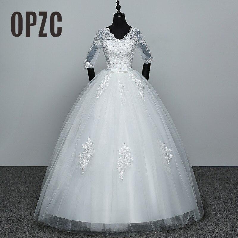 Velnosa Hoa Sale Elegant Princess Adjust Lace Three Quarter Sleeve Appliques Wedding Dresses 2018 Bridal Gowns