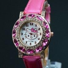 Роскошные милый рисунок «Hello Kitty» часы для девочек Для женщин Кристалл платье Кварцевые наручные часы мультфильм смотреть 048-28