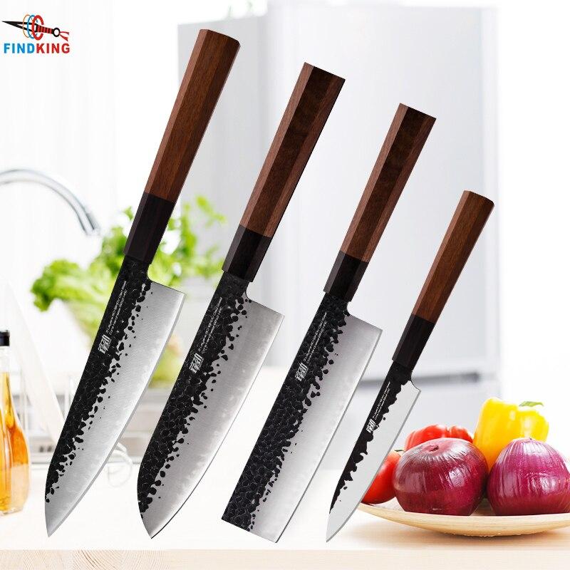 Ev ve Bahçe'ten Bıçak Setleri'de FINDKING 4 adet Kaplı Çelik Japon Profesyonel Sekizgen Saplı Mutfak Bıçağı Nakiri Santoku Maket Bıçağı'da  Grup 1